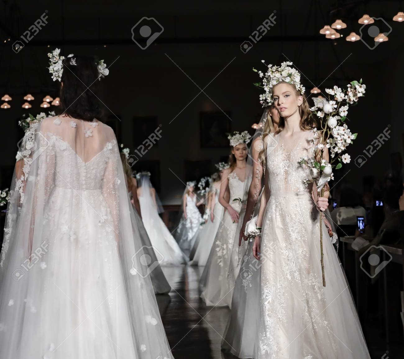 fbf1a59ceacc New York, NY, USA - April 12, 2018: Models Walk Runway For Reem ...