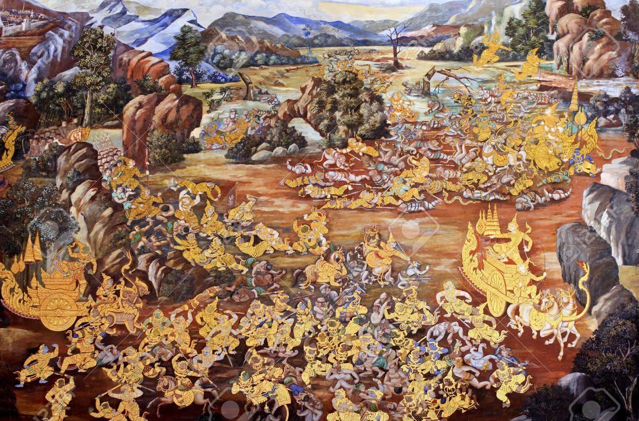 Wall painting at Grand Palace, Bangkok, Thailand. The painting is about Ramayana epic story. Stock Photo - 12244646
