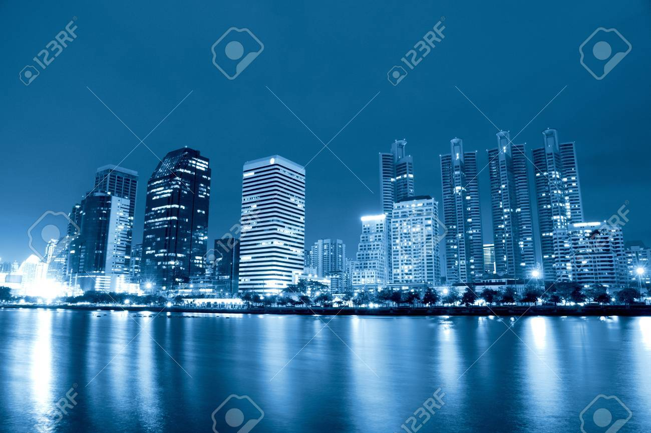 City at night, panoramic scene of downtown reflected in water,thailand Stock Photo - 13723989