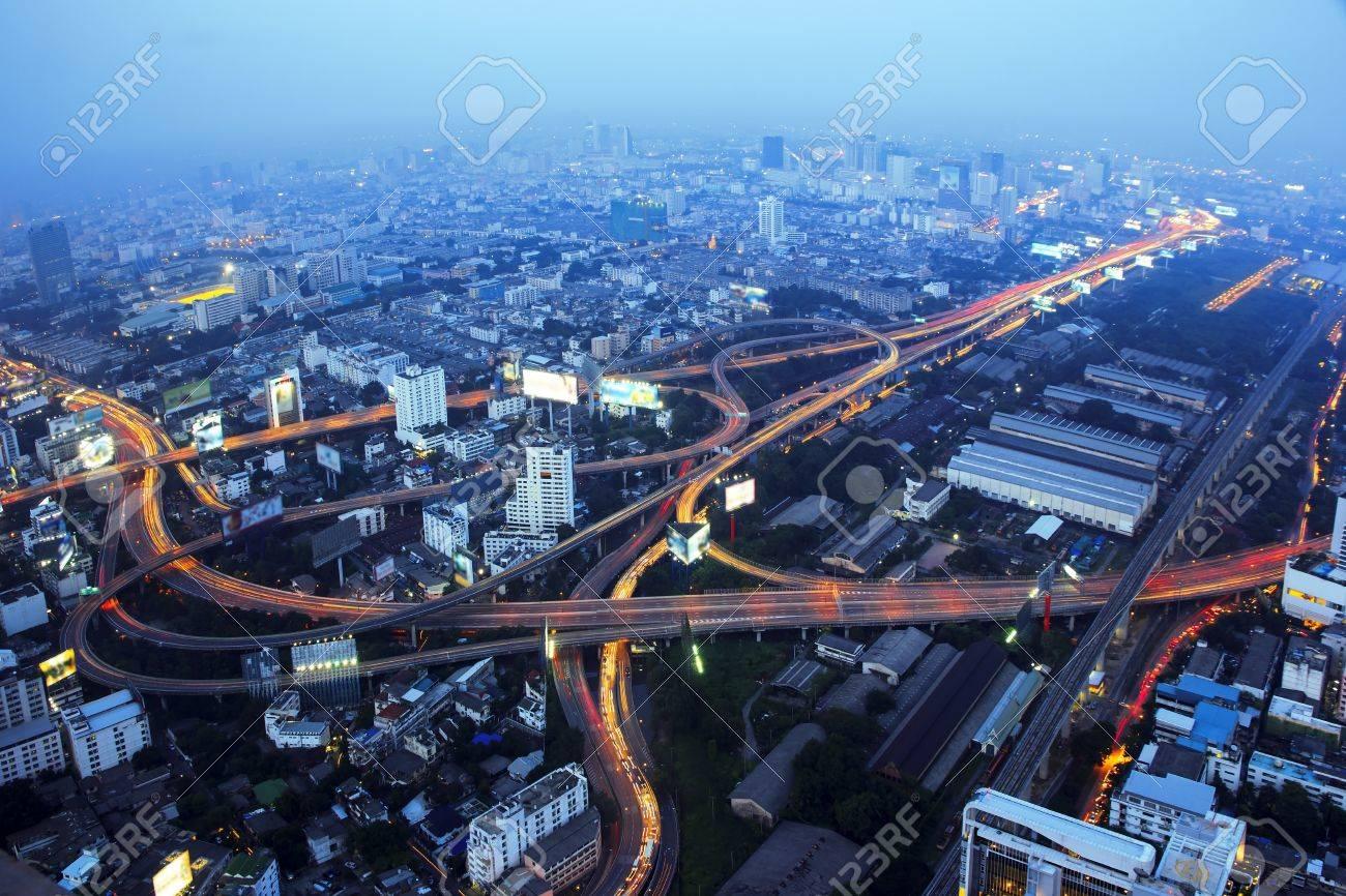 A busy freeway at night in the city. Bangkok Thailand. Stock Photo - 16294003