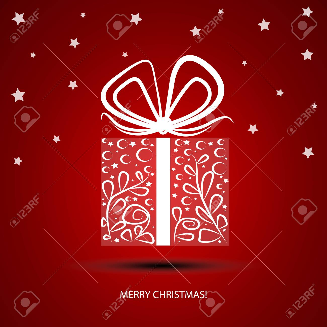 Gift box with painted white lines  For making Christmas cards Stock Vector - 16596297