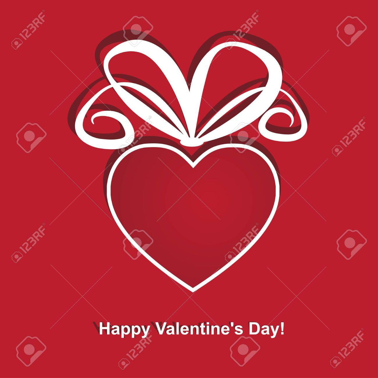 Greeting cards for Valentine's Day. A heart-shaped red gift box. Stock Vector - 17588929