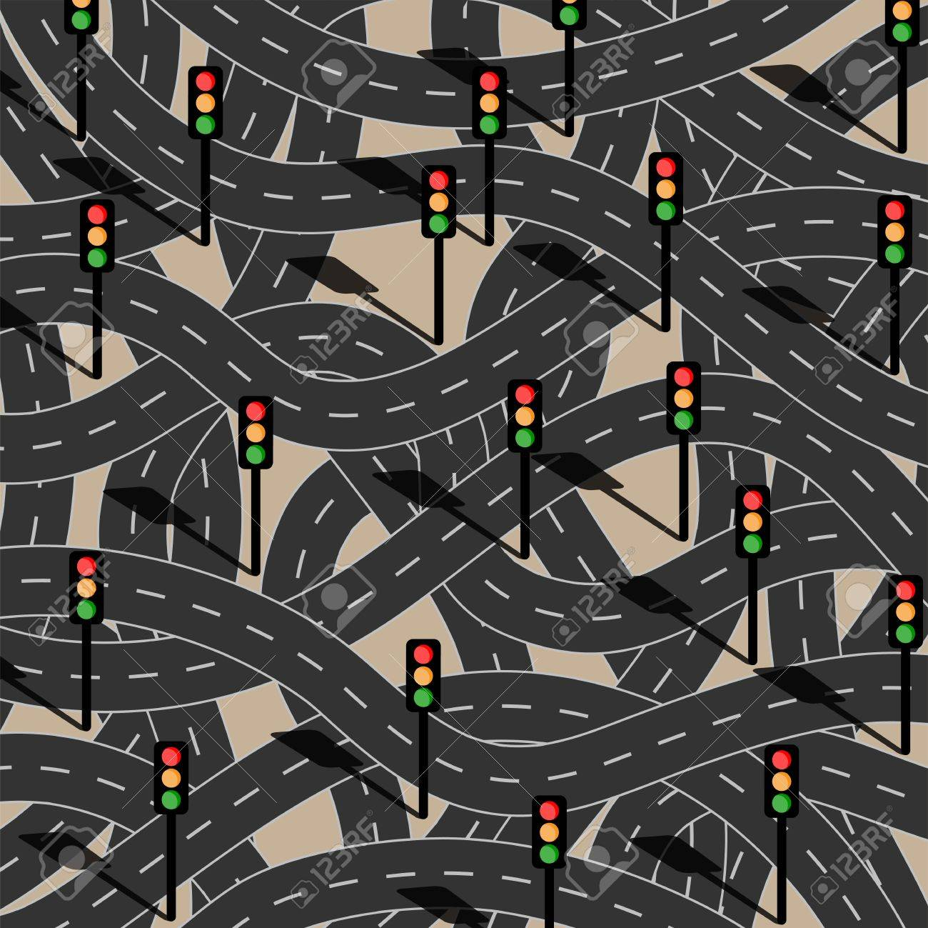 Route to chaos. Filled with traffic lights. Stock Vector - 17589053