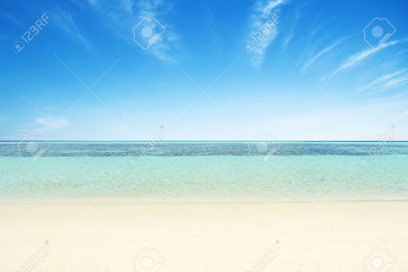 Beaches, crystal clear water, blue sky as background. Stock Photo - 19110618