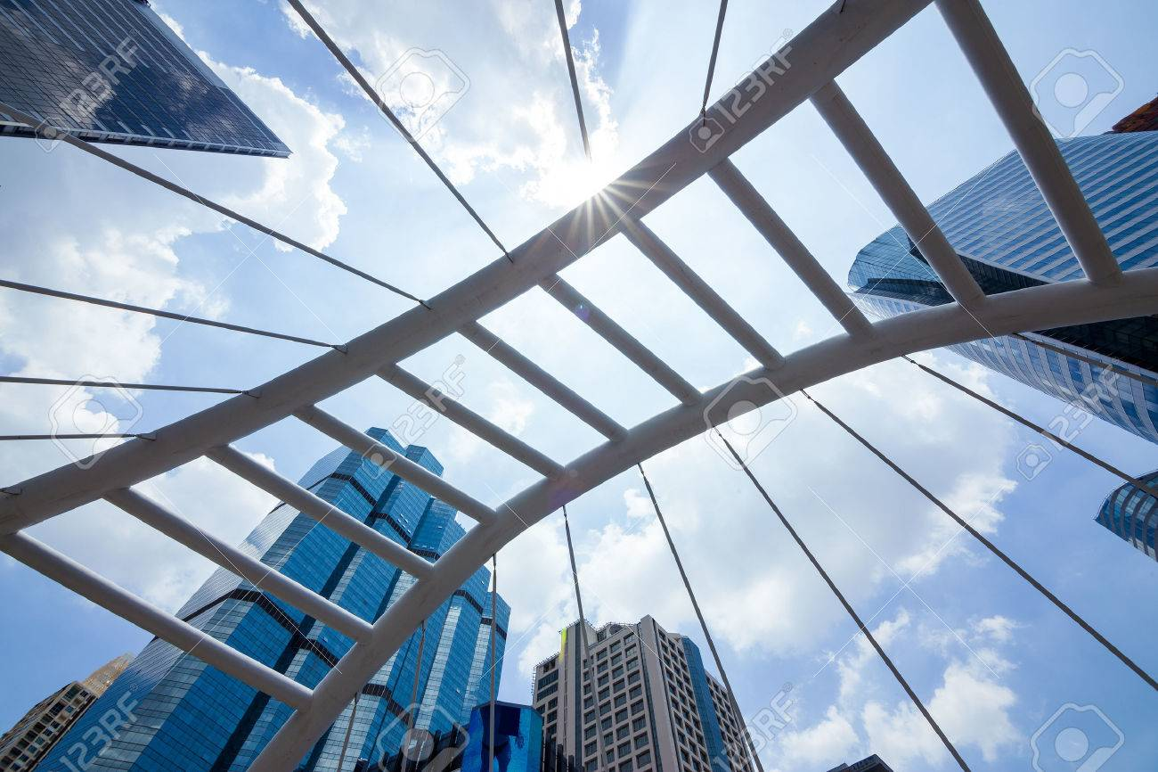 Sathorn Bridge in the daytime sky with clouds downtown Bangkok, Thailand. - 46754970