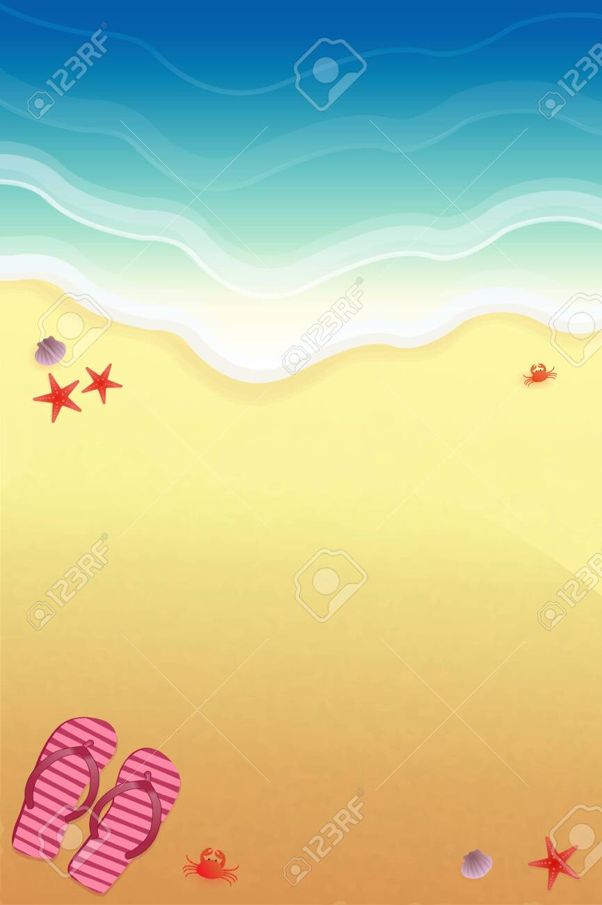 Background for design on the beach, with slippers and sea crabs. - 120794025