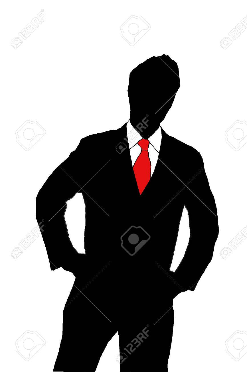 silhouette of a business man in a suit and red tie on white background Stock Photo - 1464904