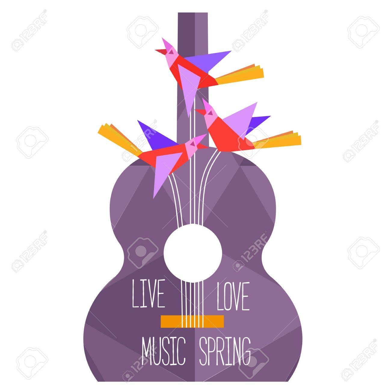 Diseño Cartel De Plantilla Con La Silueta De La Guitarra Acústica ...