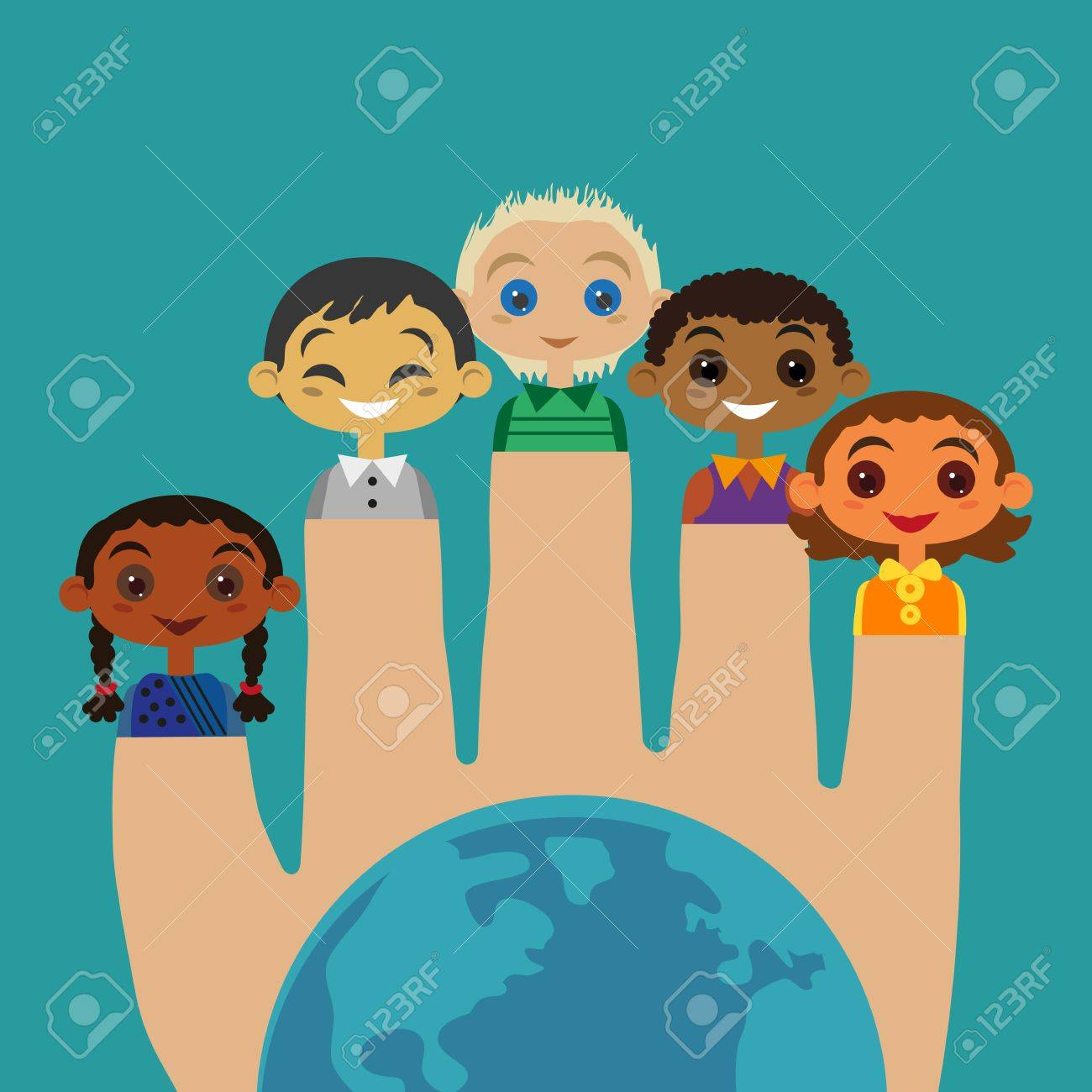 Multicultural friendship Concept  United Kids  Unity of different