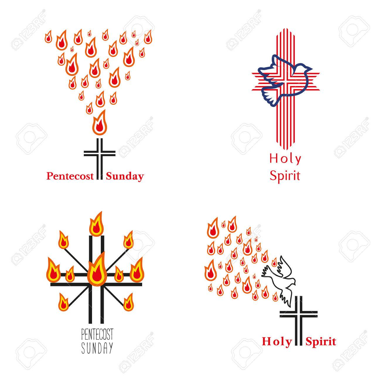 Estremamente Set Di Chiesa Logo. Lo Spirito Santo Gesù, Dio. Chiesa Simbolo  ZH49