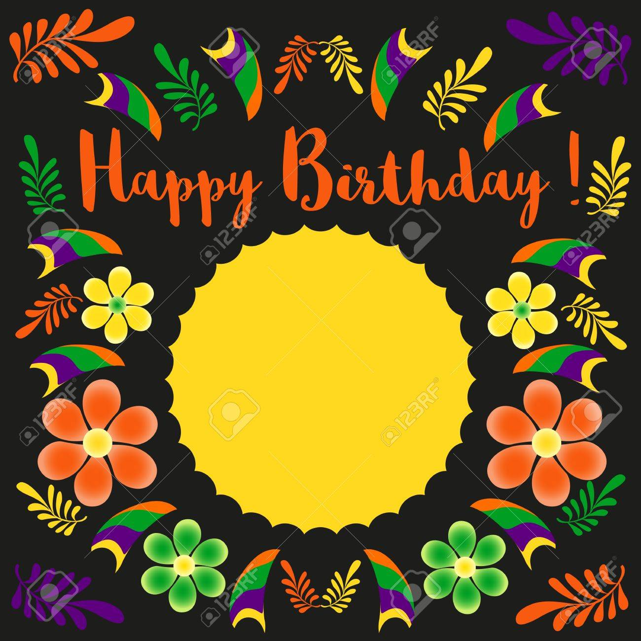 happy birthday card template poster on party celebration blank