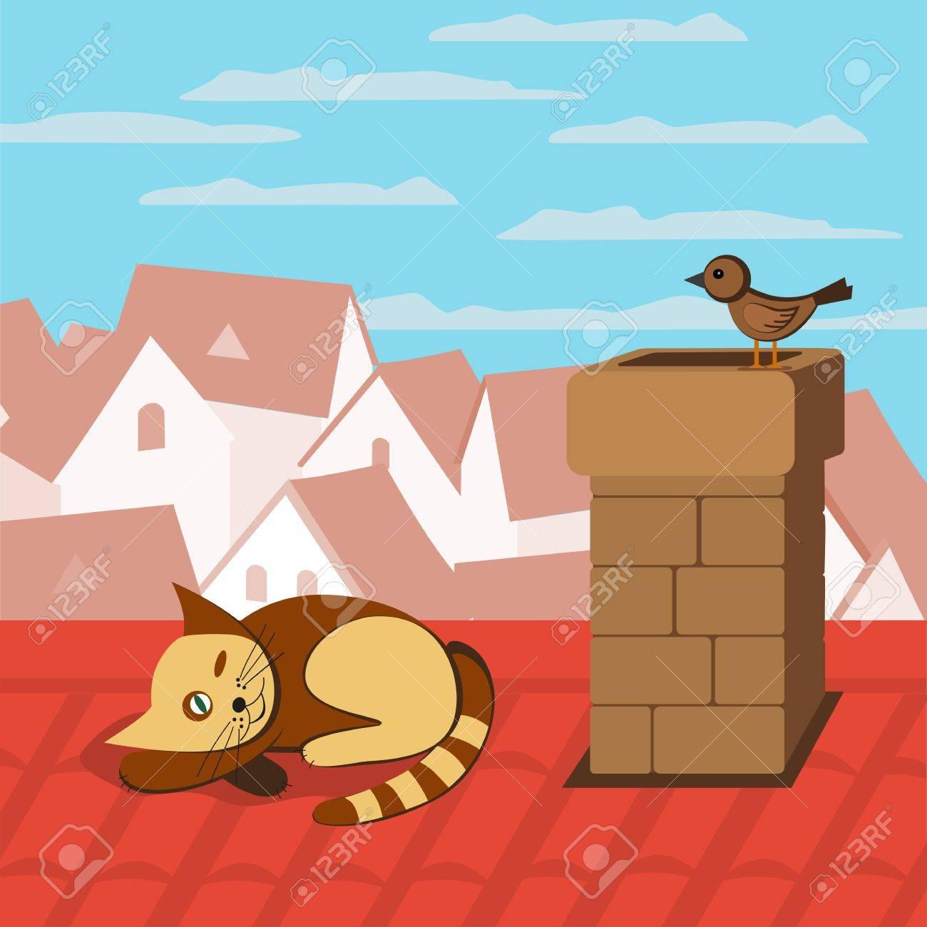 la gata sobre el tejado pjaro que se sienta en la chimenea