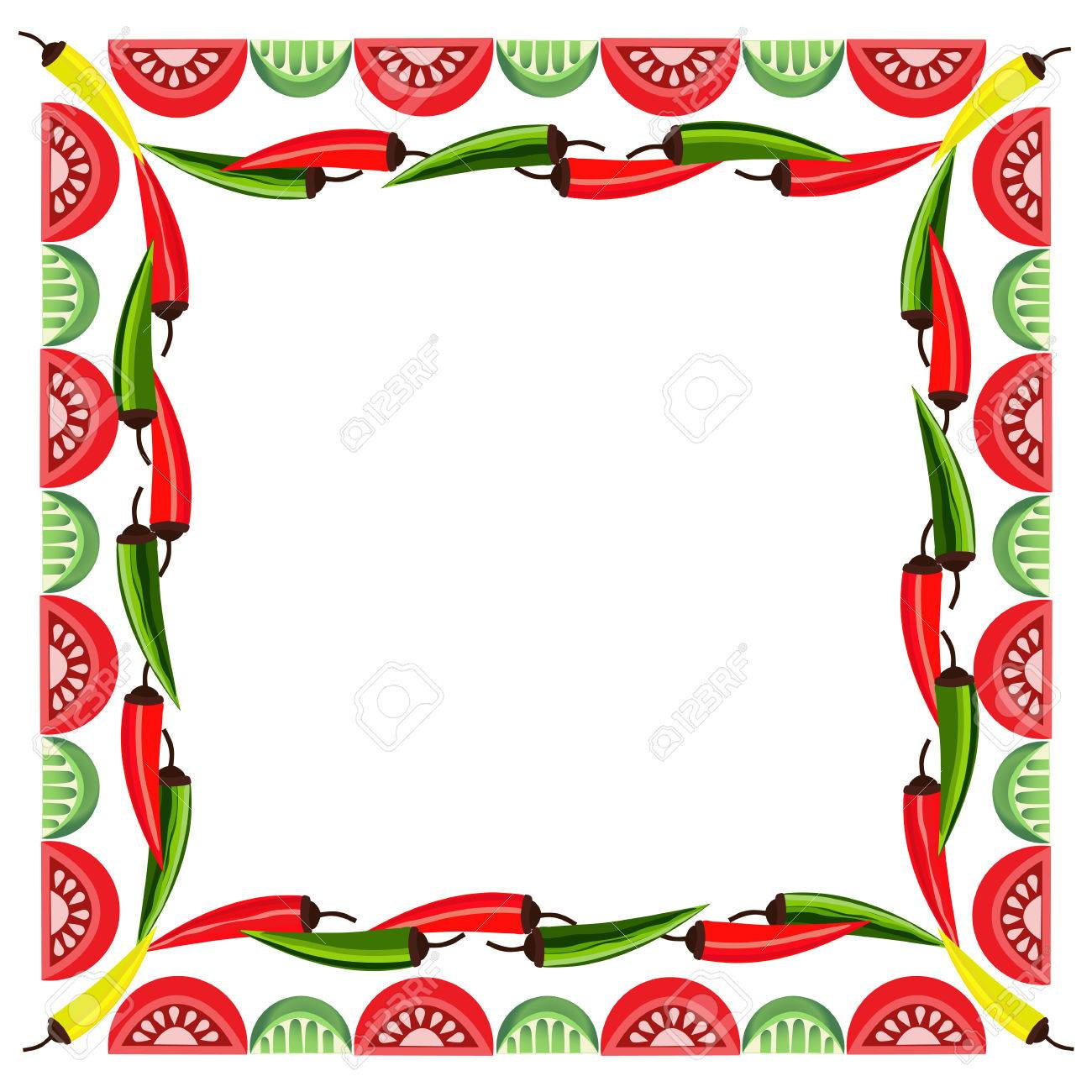 mexican style mexican border concept fiesta menu frame chili pepper flag of - Mexican Frame