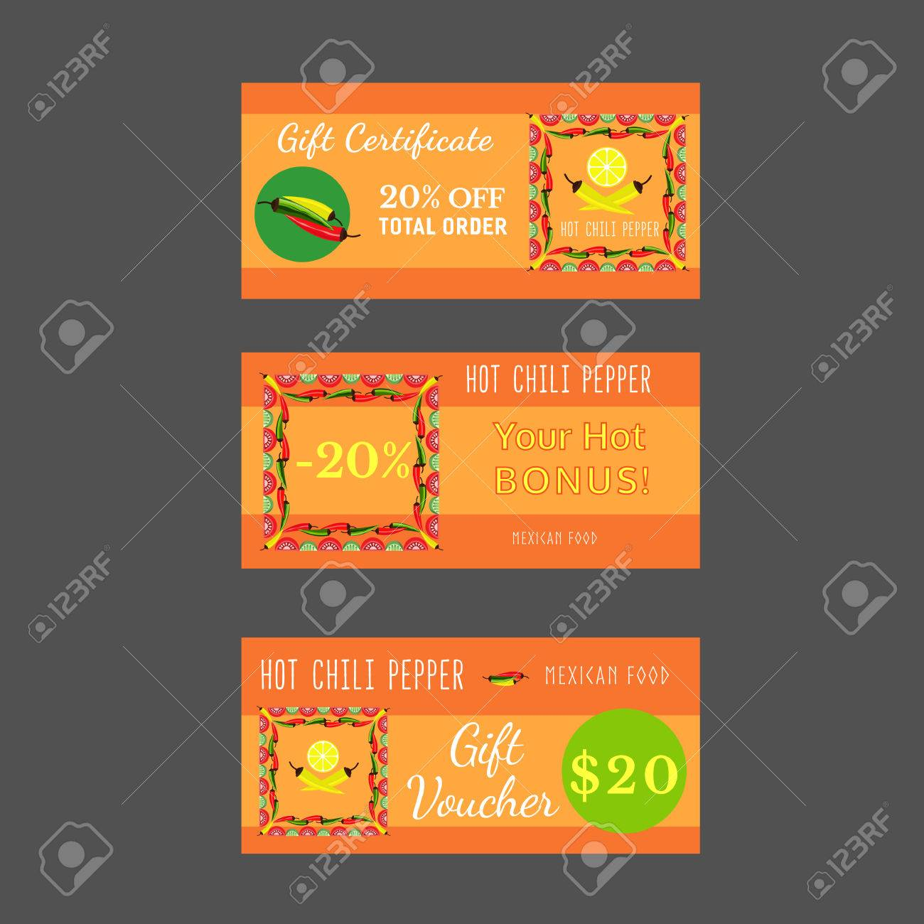 Set of templates for mexican restaurant gift certificate set of templates for mexican restaurant gift certificate discount voucher bonus offer xflitez Image collections