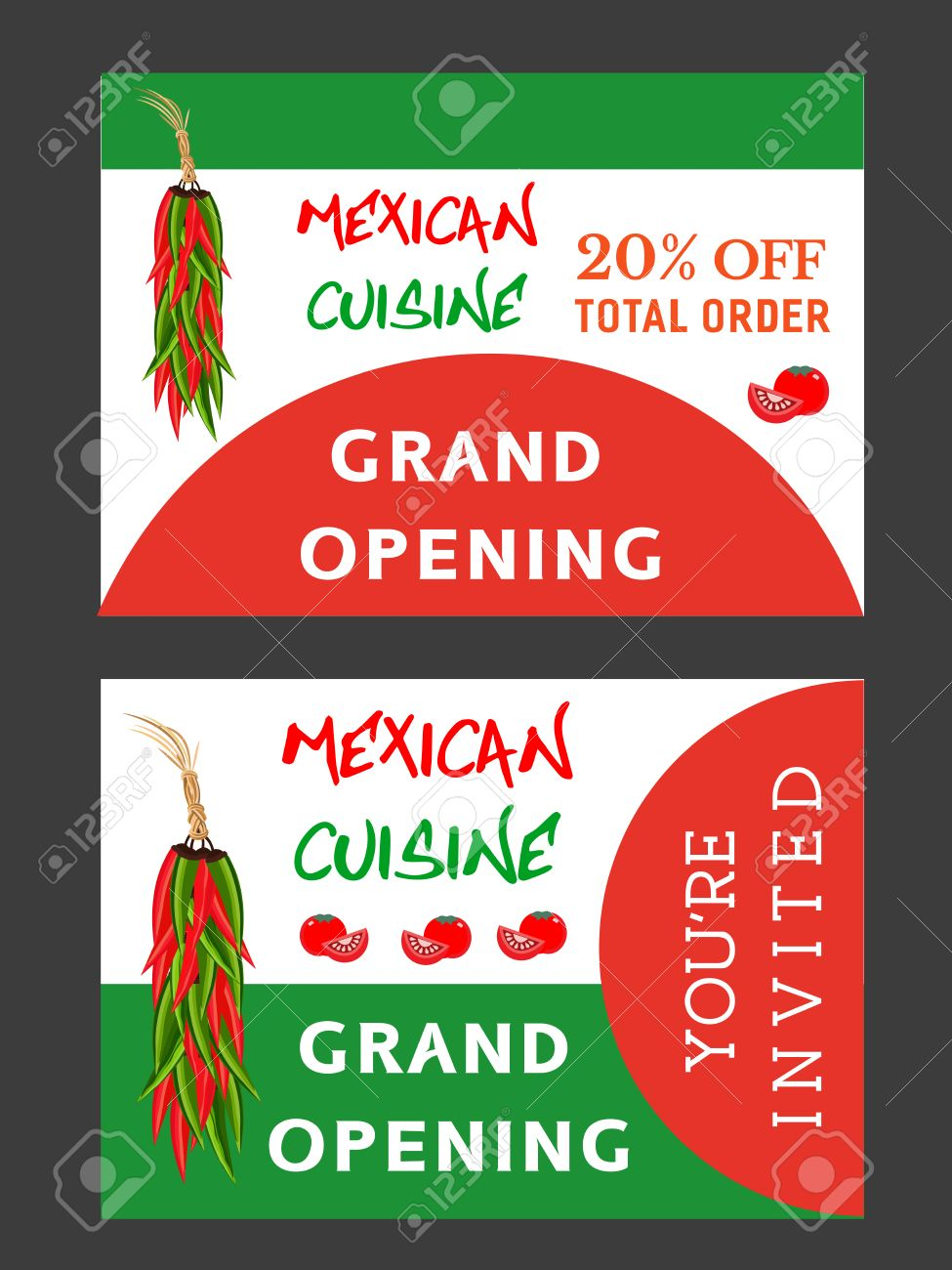 Set Of Templates For Mexican Restaurant Grand Opening Advertising