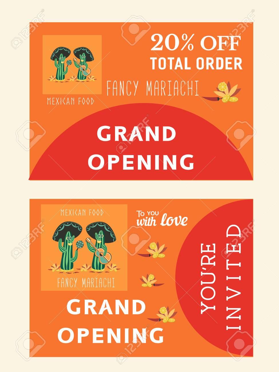 Conjunto De Plantillas Para Restaurante Mexicano Afvertising Gran Apertura Volante De Bonificación Tarjeta De Invitación Ilustración Vectorial