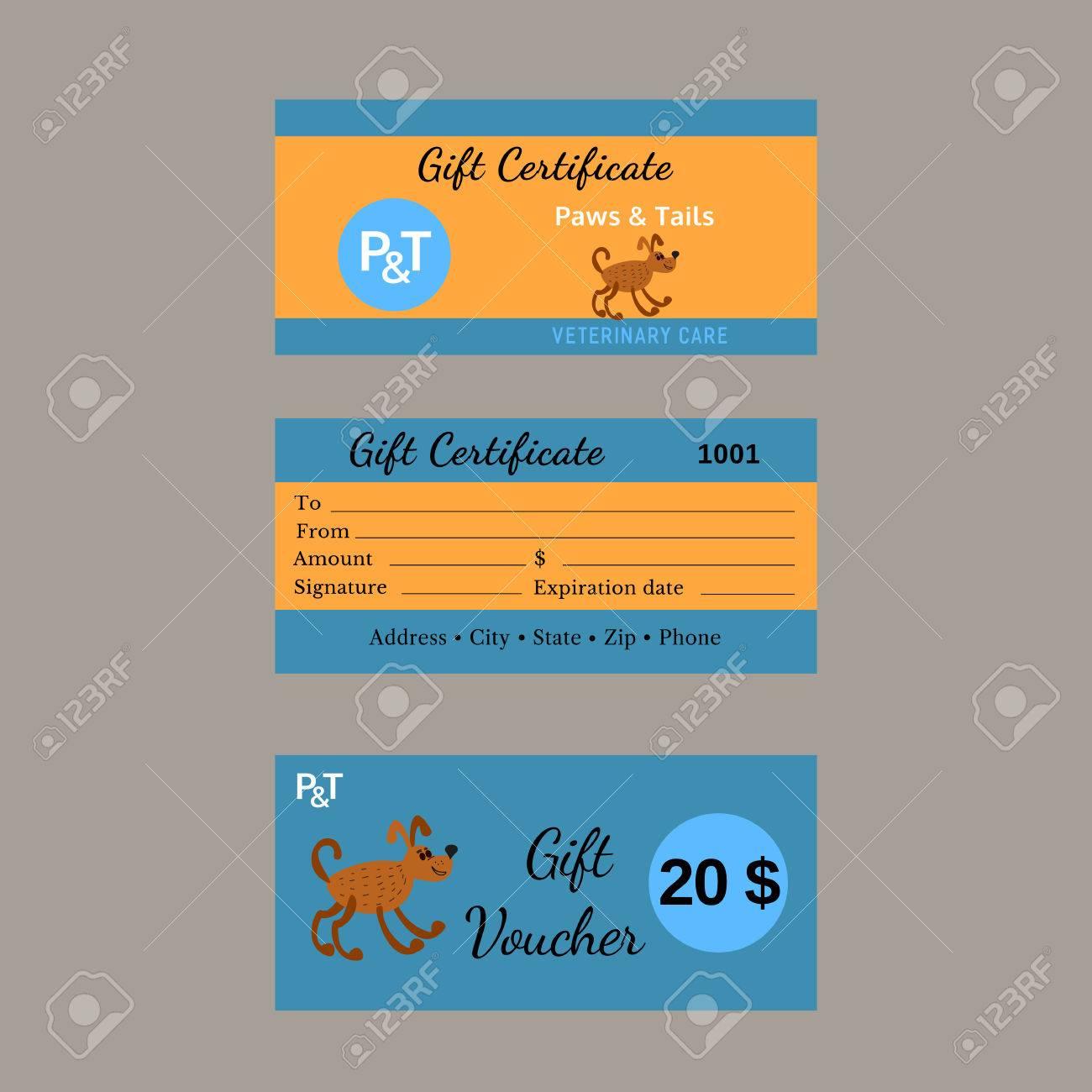 Set Von Vektor-Zertifikate. Pet Care-Konzept. Geschenkgutschein ...