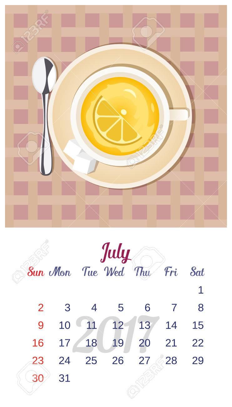 2017 Calendario. Plantilla De Calendario Mensual De Julio. El Tema ...