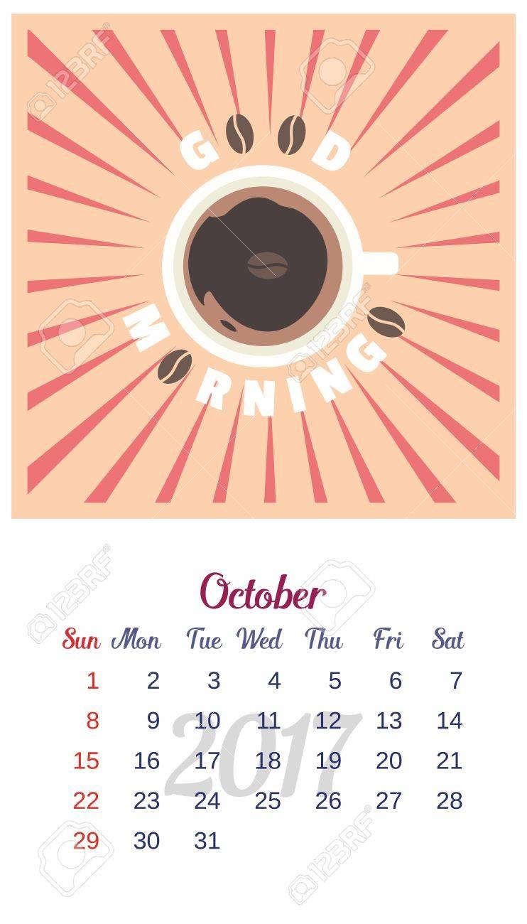 2017 Calendario. Plantilla De Calendario De Octubre. El Tema De La ...