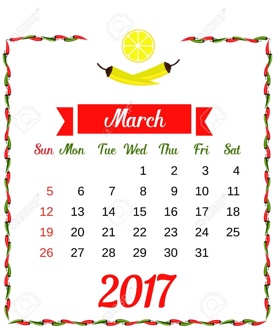 Calendario 2020 Chile Vector.2017 Calendar Template Of Monthly Calendar For March With Hot