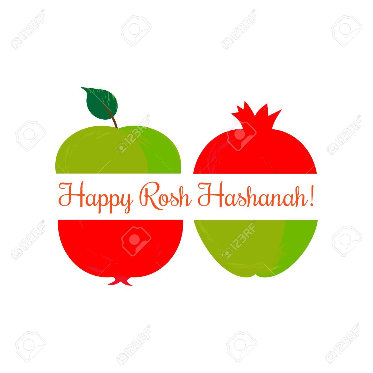 Rosh Hashanah Jewish New Year Concept Traditional Holiday Symbols