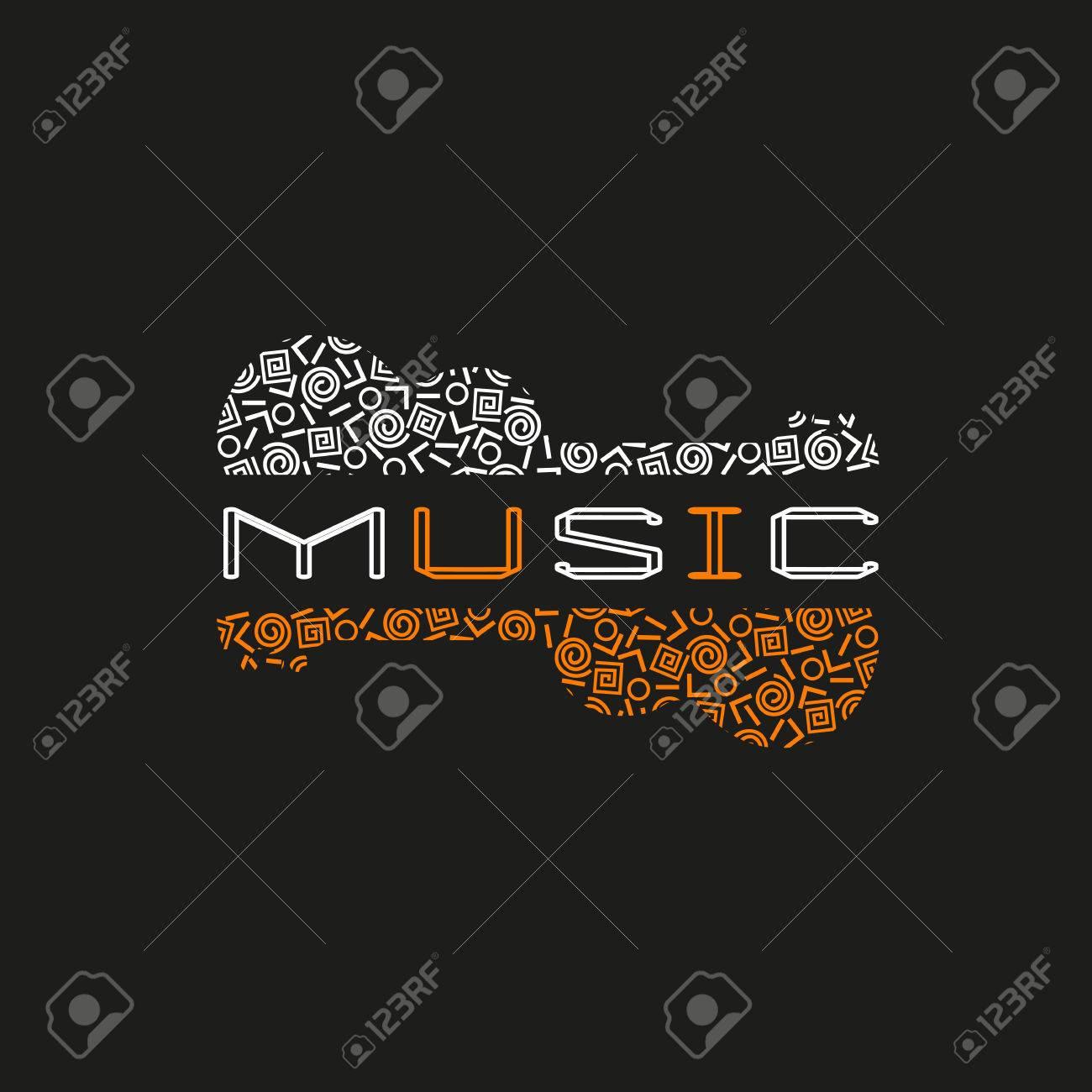 Diseño Cartel De Plantilla Con Doodle De La Silueta De La Guitarra ...
