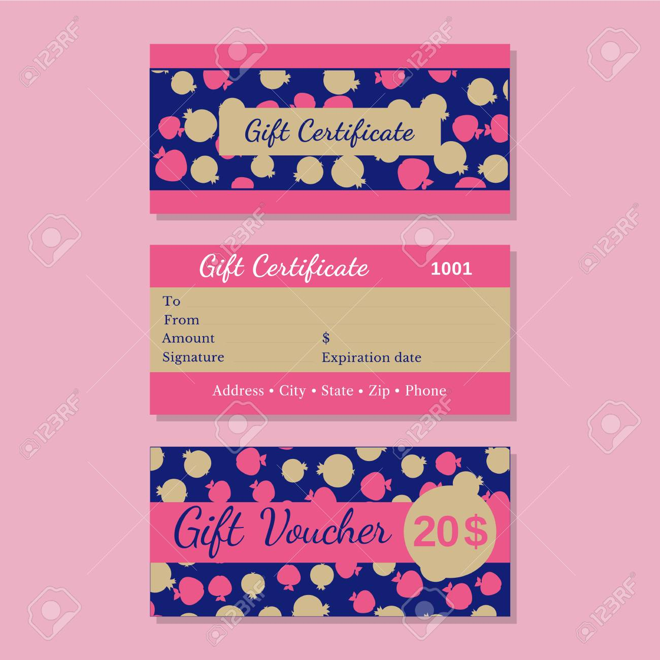Set Of Templates Gift Certificate Design Idea Of Front Back