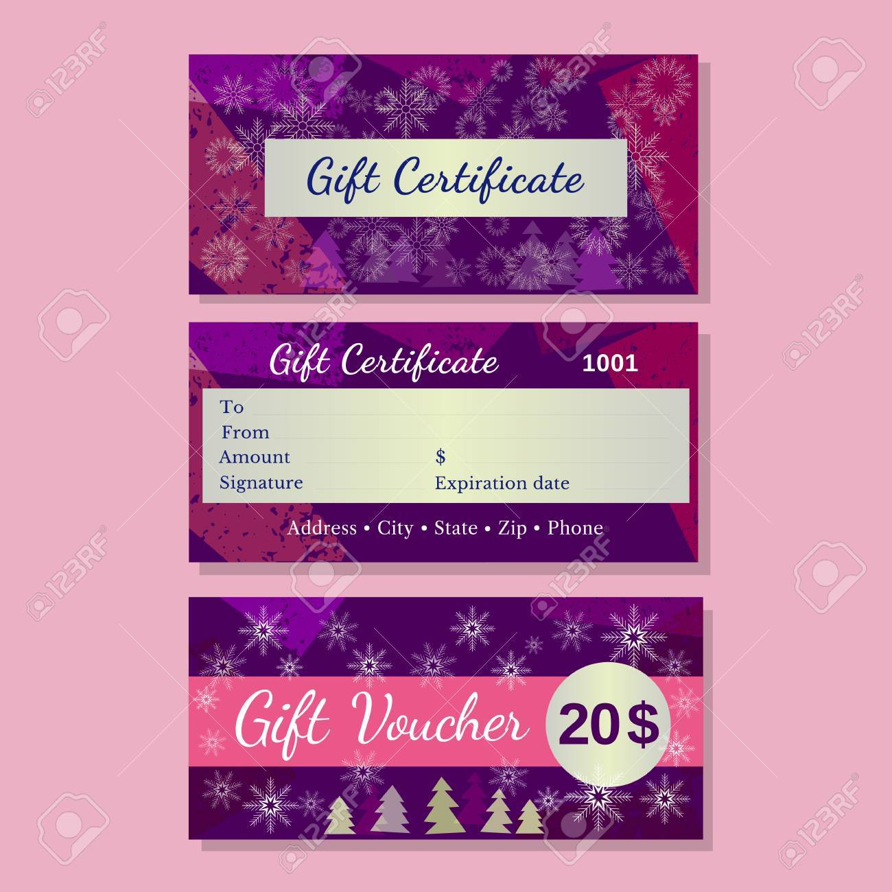 Set Of Templates Christmas Gift Certificate Design Idea Of Front