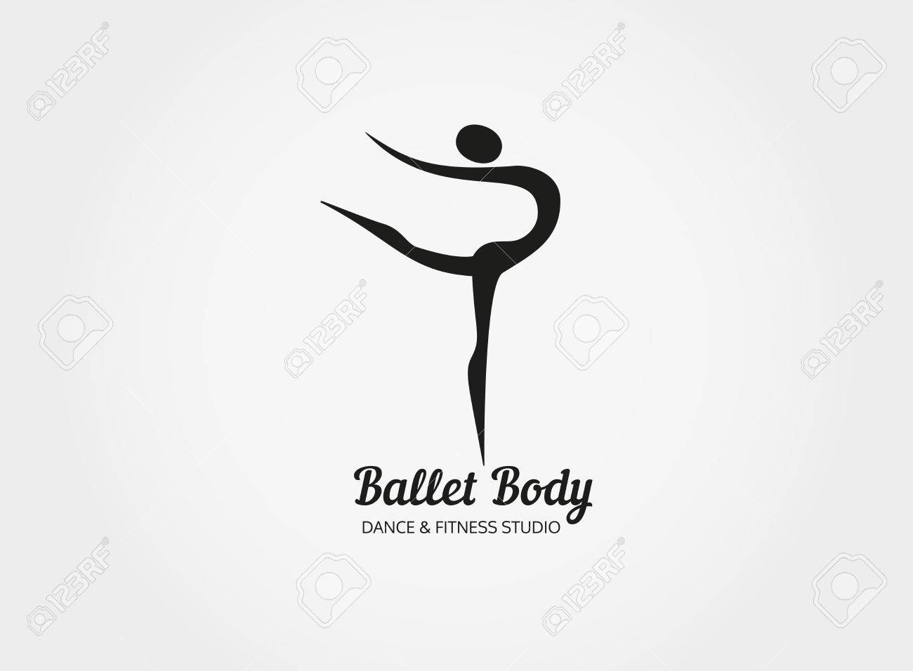 dance icon concept ballet body studio design template people