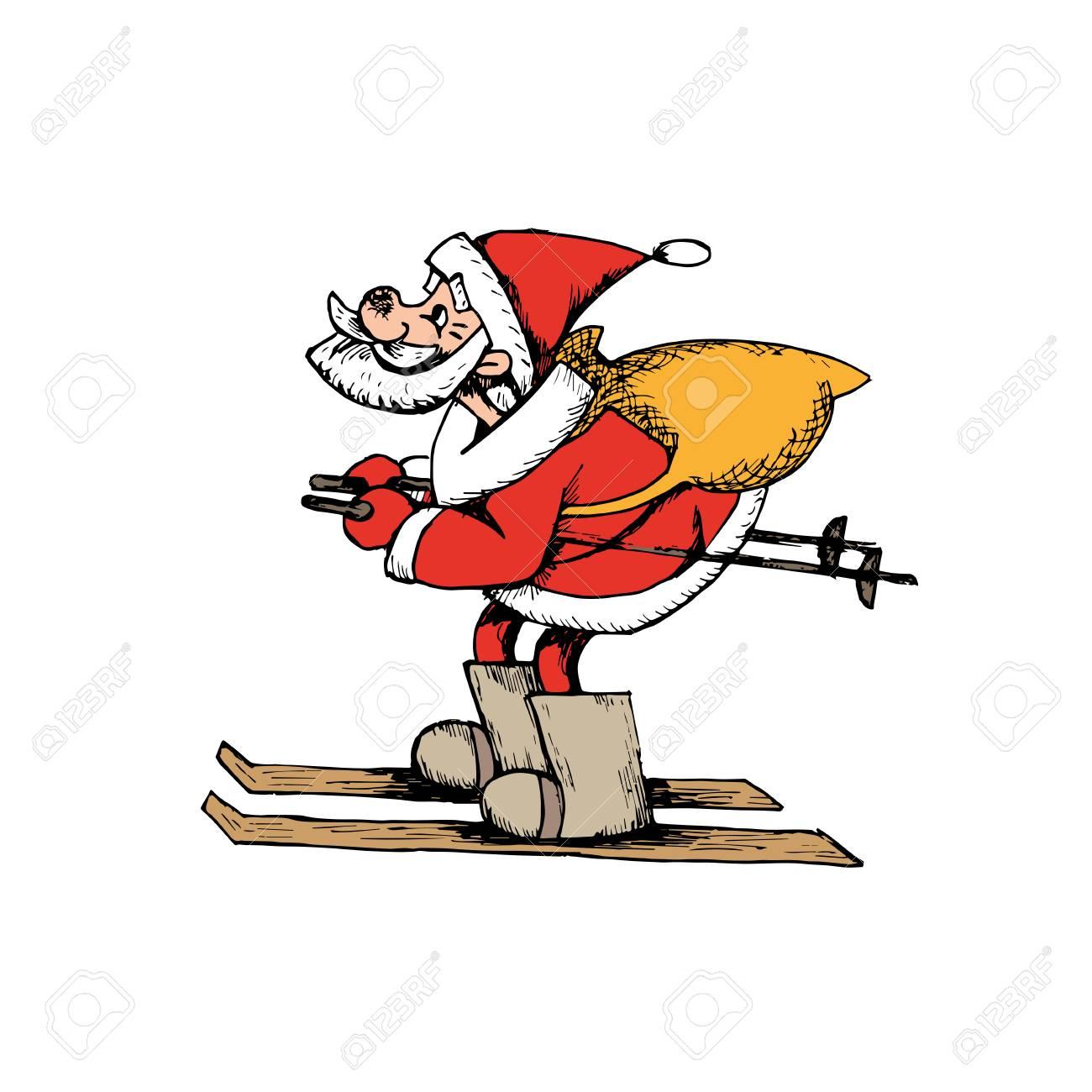 Father Christmas Cartoon Images.Santa Claus Cartoon Character Father Christmas On Ski Carrying