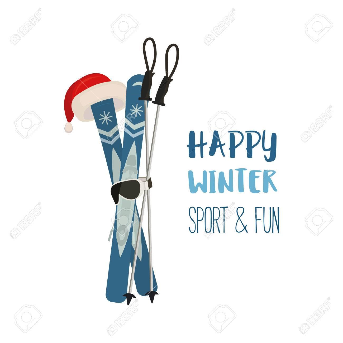 Mountain Ski Pole Santa Claus Hat Icon Vector Cartoon Winter Symbol