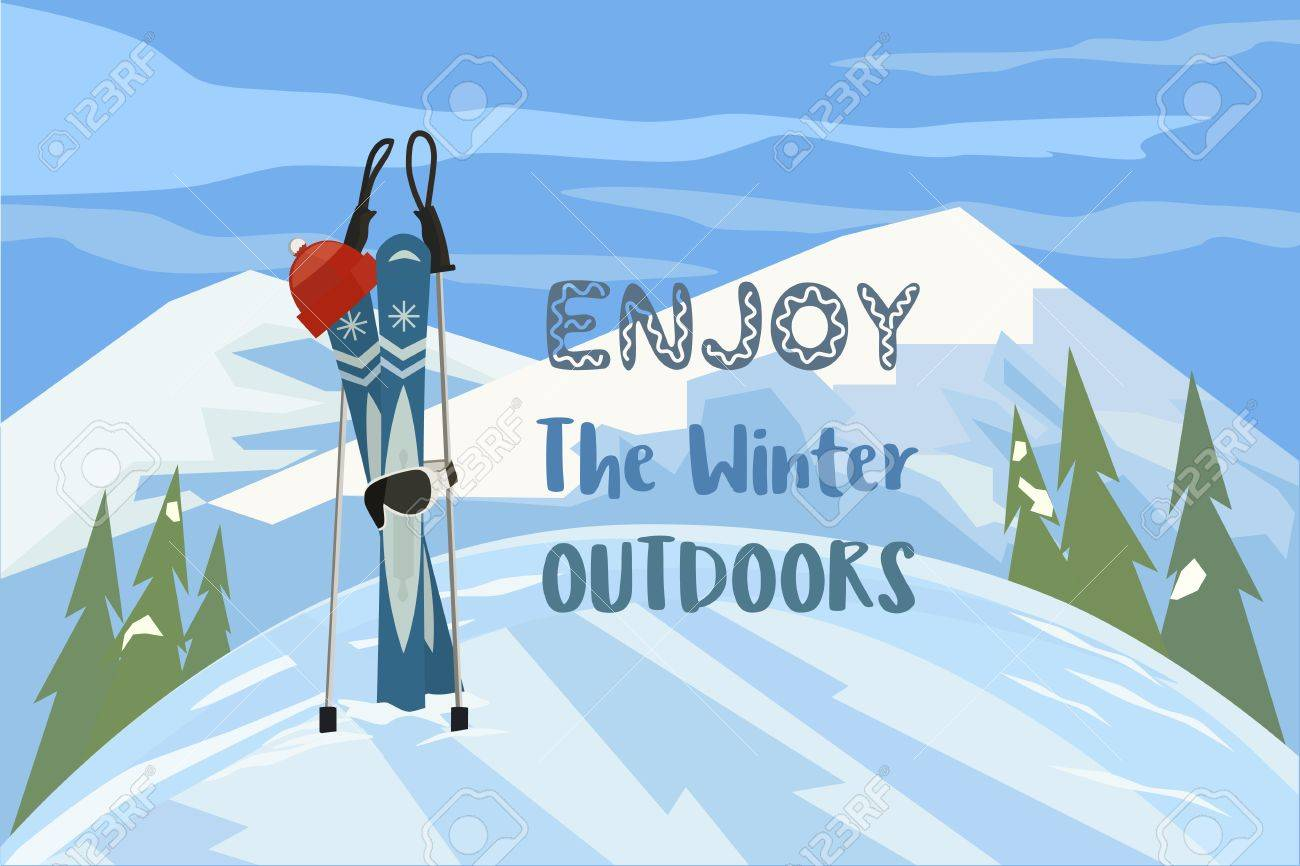 Cartoon Mountain Ski Hat Mask On Snowy Hill Enjoy Winter Outdoors Royalty Free Cliparts Vectors And Stock Illustration Image 65831095