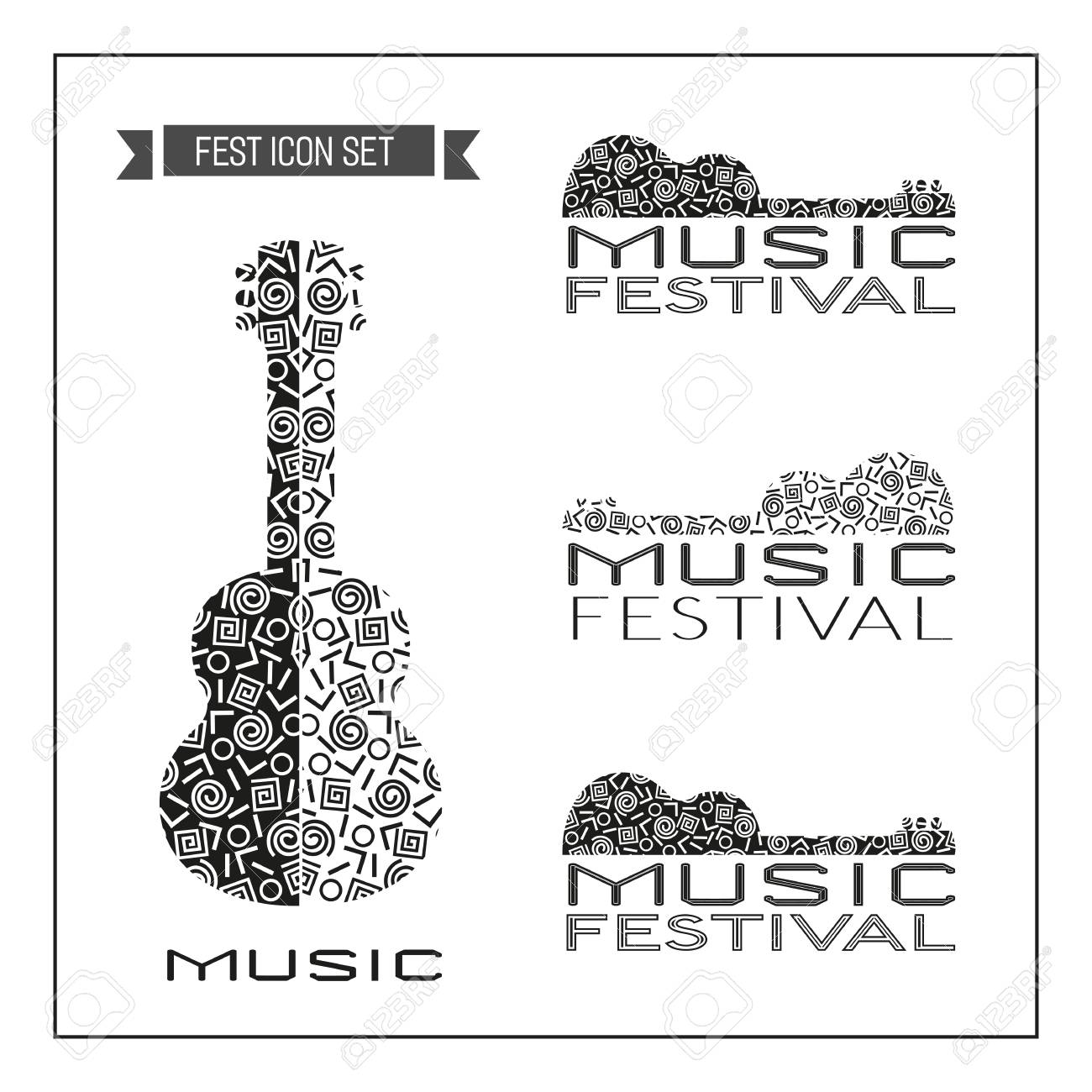template design set of doodle acoustic guitar silhouettes royalty