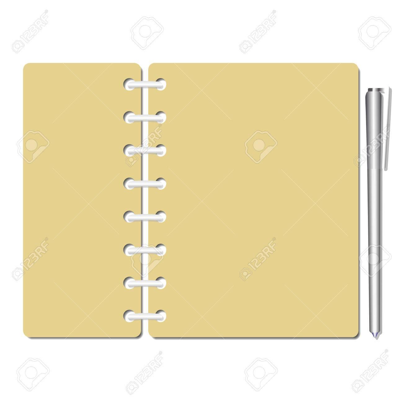 Identidad Plana Cuaderno En Blanco Hojas, Páginas. Lista De ...
