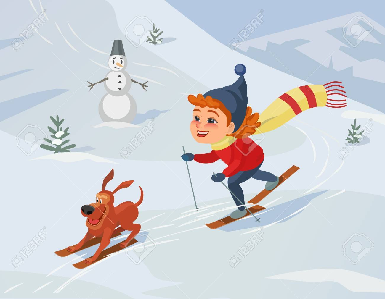 winter outdoors concept. cartoon fancy retro style poster. skiing