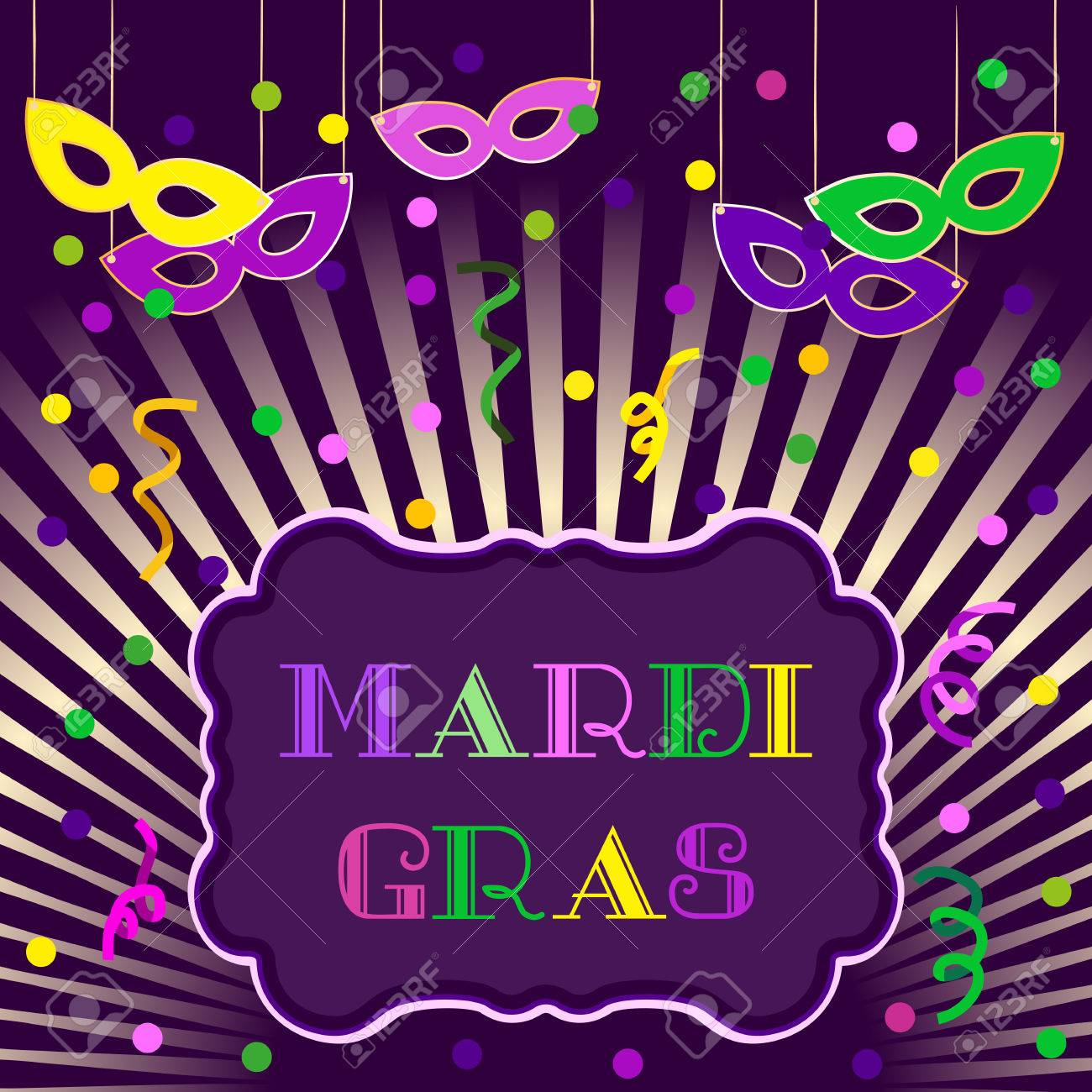 Mardi Gras Celebration Freehand Cartoon Fancy Letters Masquerade