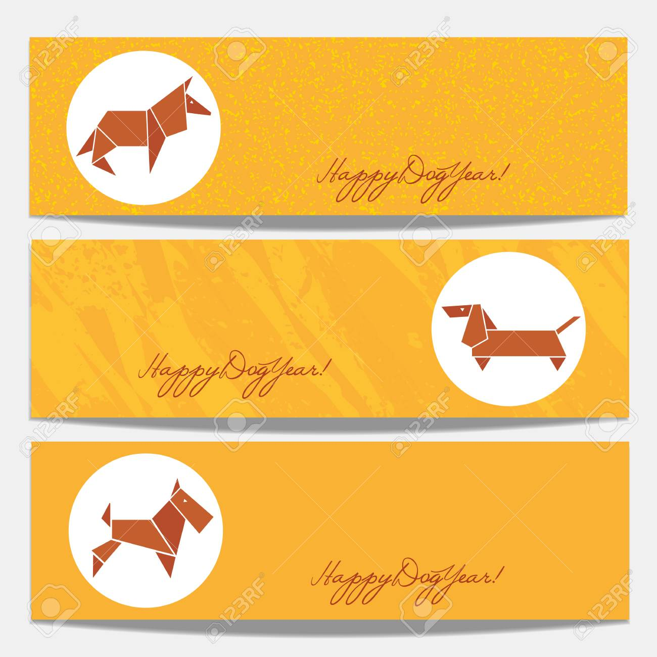 Horizontal Banners Set. Happy Chinese Lunar New Year 2018. Oriental ...