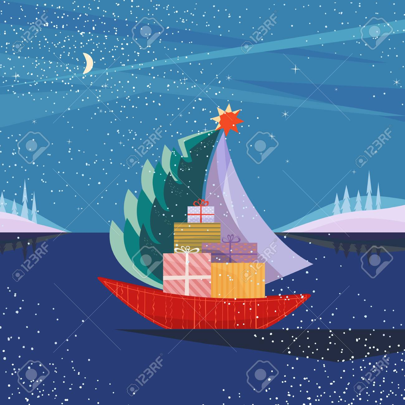 Christmas sailboat sailing by sea with fir tree, gifts present boxes. Fun boat on lake in snowy mountain valley. Colorful cute cartoon. Vector design for winter holiday season new year event - 90962075