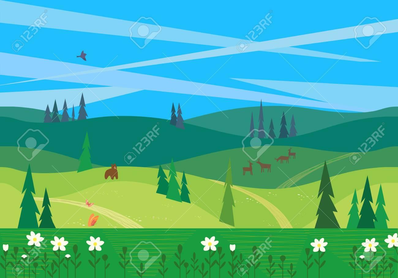 Paisagem Do Vale Verde Cena Exterior Dos Desenhos Animados