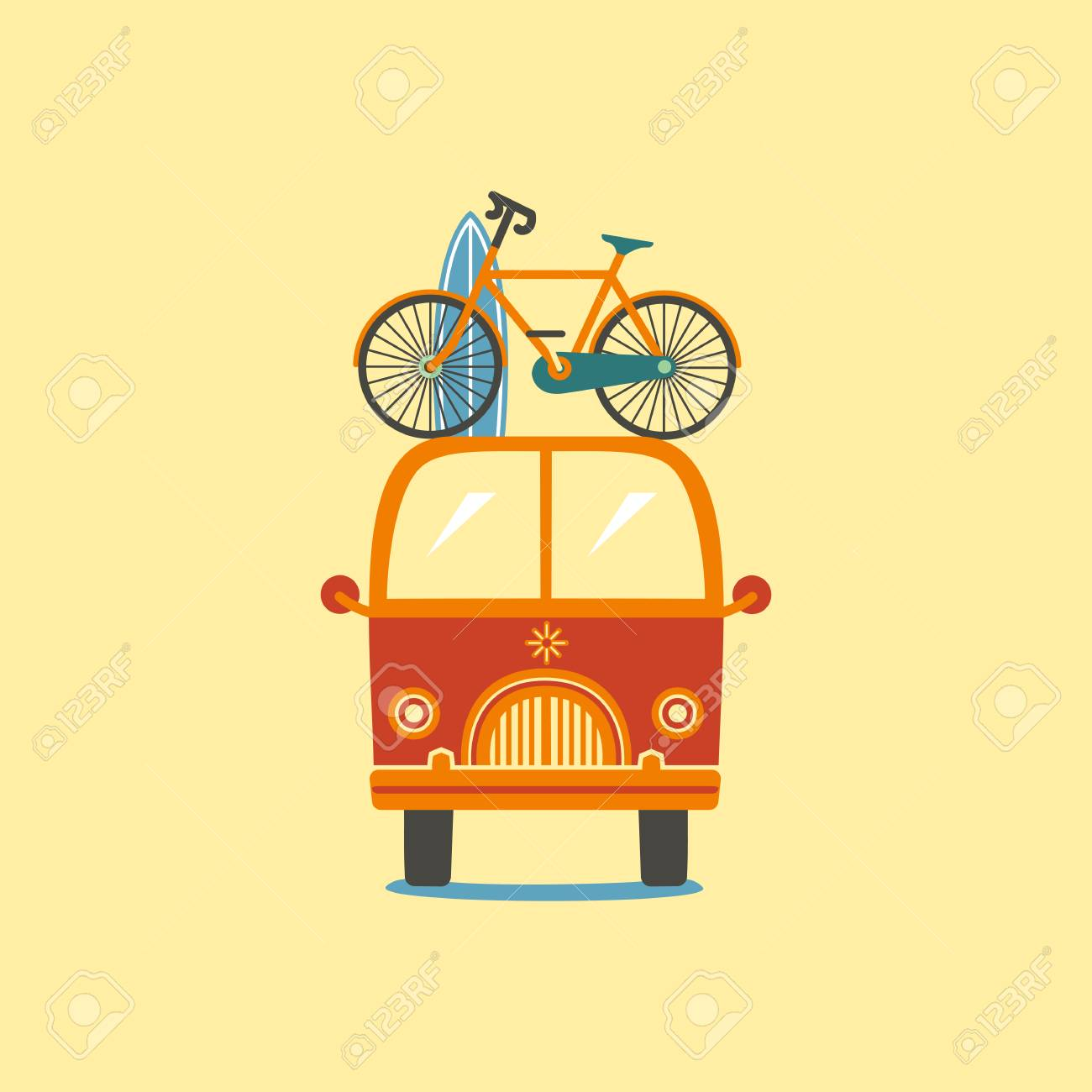 dce900f6bd Front view of an orange van with bicycle and surfboard on top. Stock Vector  -