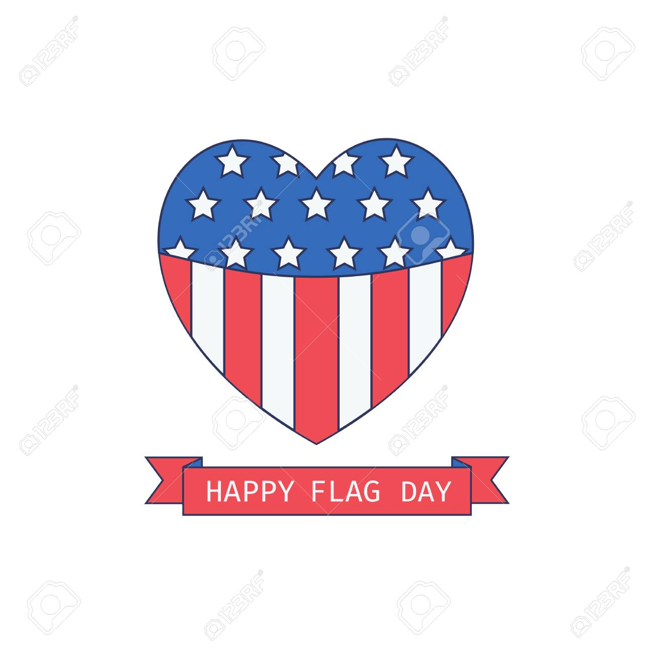 5026003cdc2 Vector illustration. Happy holiday poster. Colors of USA flag in heart  shape. Colorful design idea on