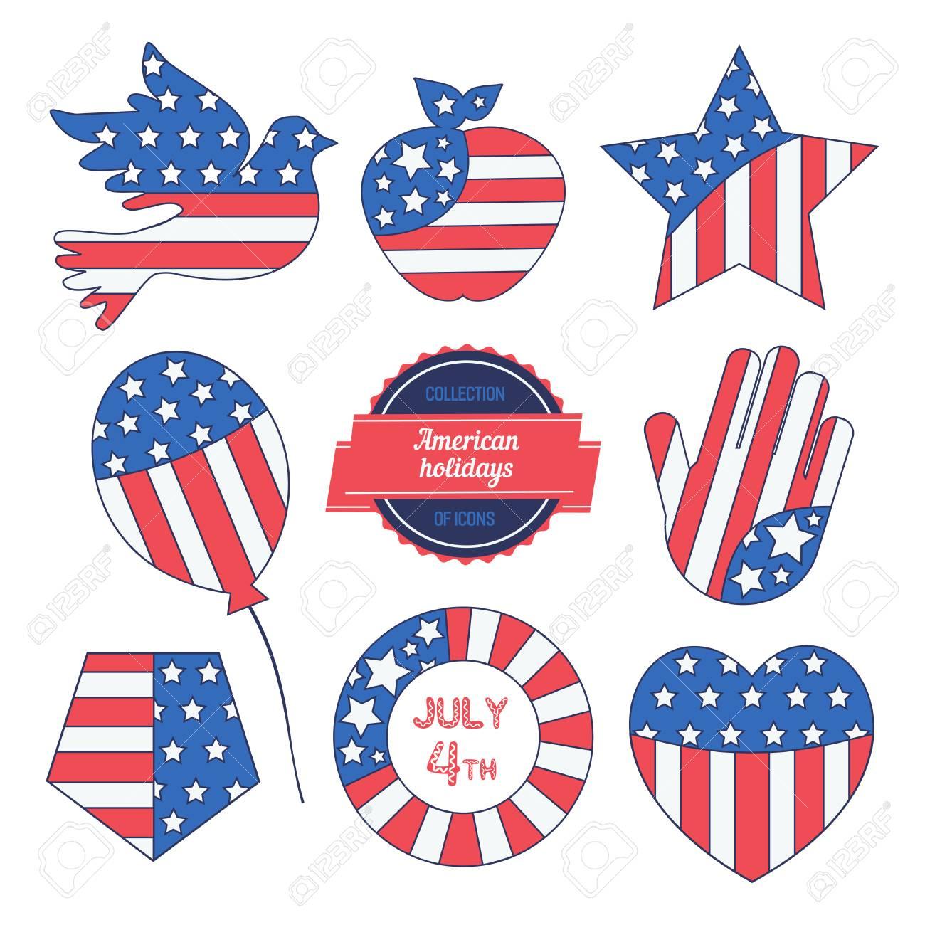 Happy American Holiday Icon Set Colors Of Usa Flag Craft Symbols
