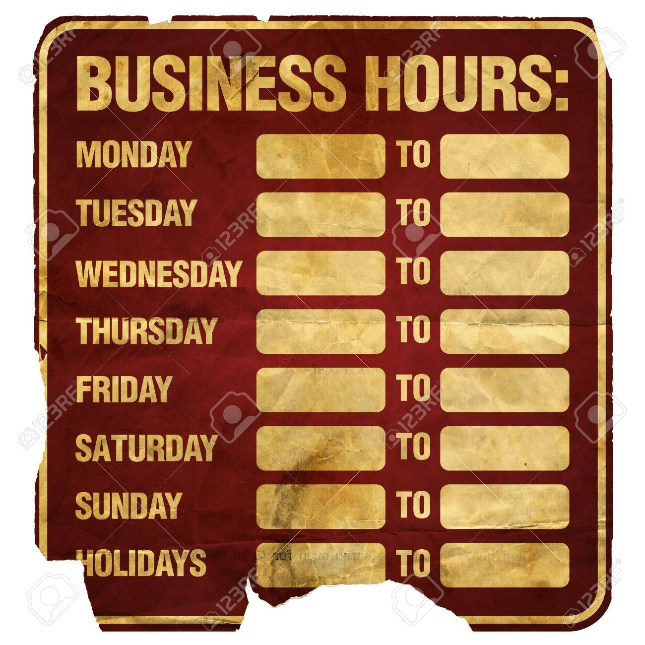 Business Hours Sign Degraded (blank). Stock Photo, Picture And ...