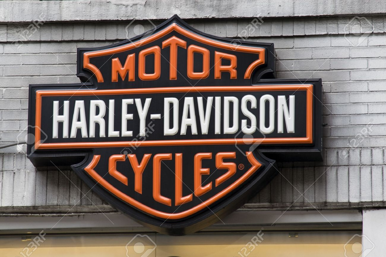 new york city, usa, may 30, 2011 - harley davidson logo sign
