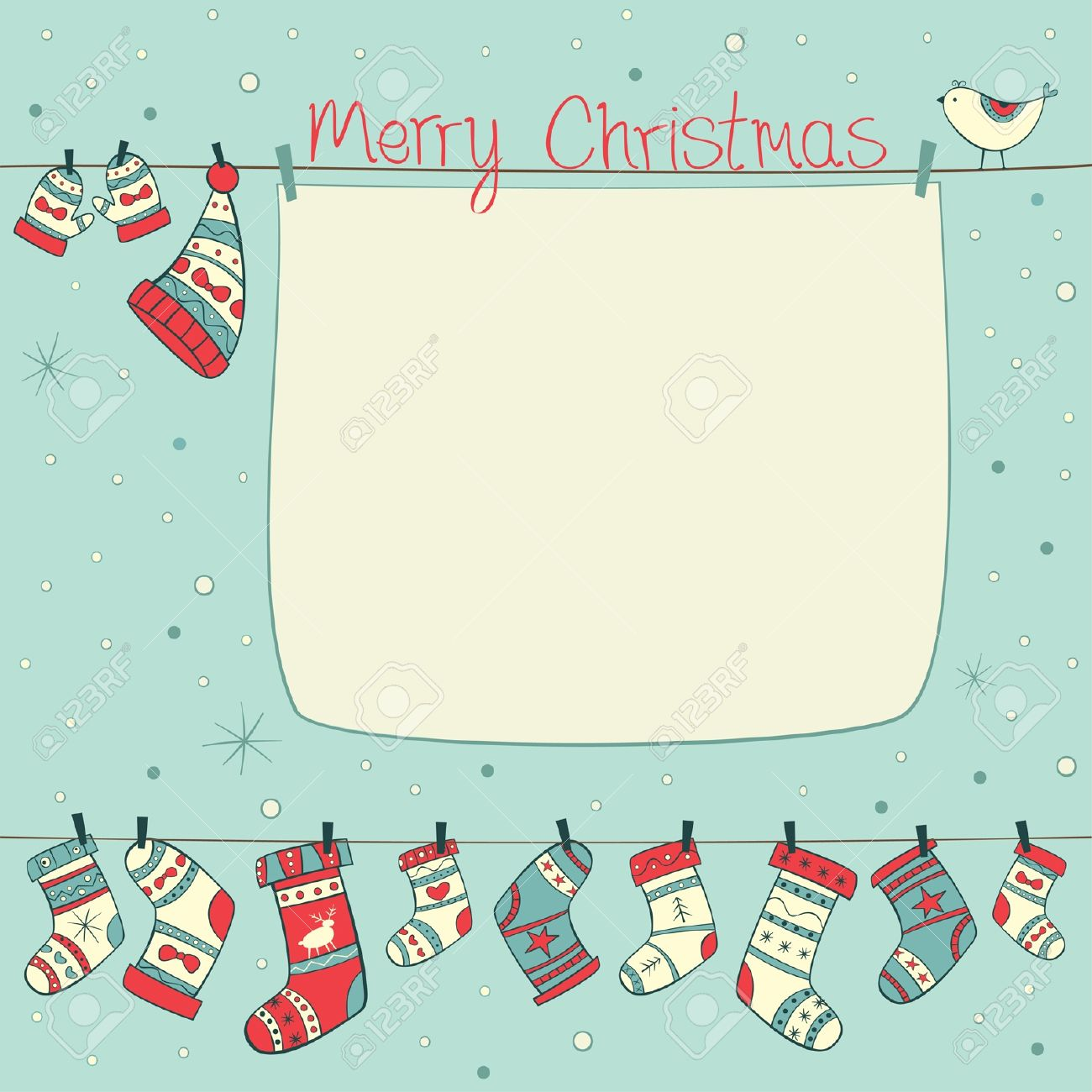 Christmas card with birds, socks, mittens and hats on cyan background with snowfall Stock Vector - 16588730