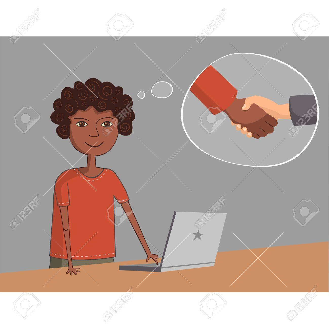 African-American black guy near the laptop thinks about business partnership handshake Stock Vector - 19912737