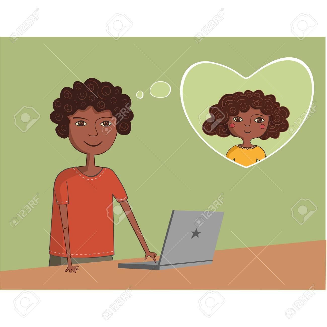 6136da621 Foto de archivo - Hombre negro africano-americano cerca de la computadora  portátil niña piensa acerca encantadora