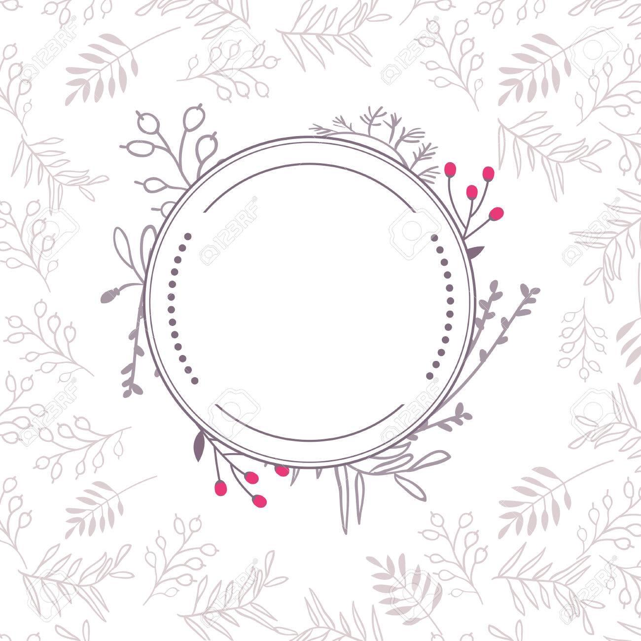 抽象的な秋ベクトル花の罫線カードのテンプレート フレーム デザイン