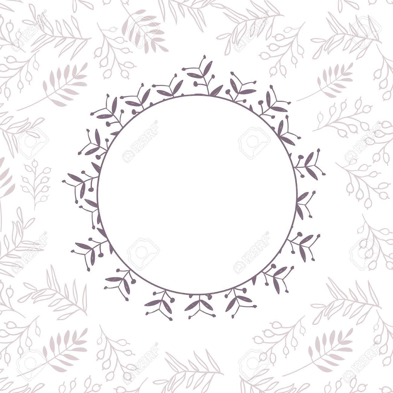 抽象的なベクトル花茶色ボーダーカードのテンプレート フレーム