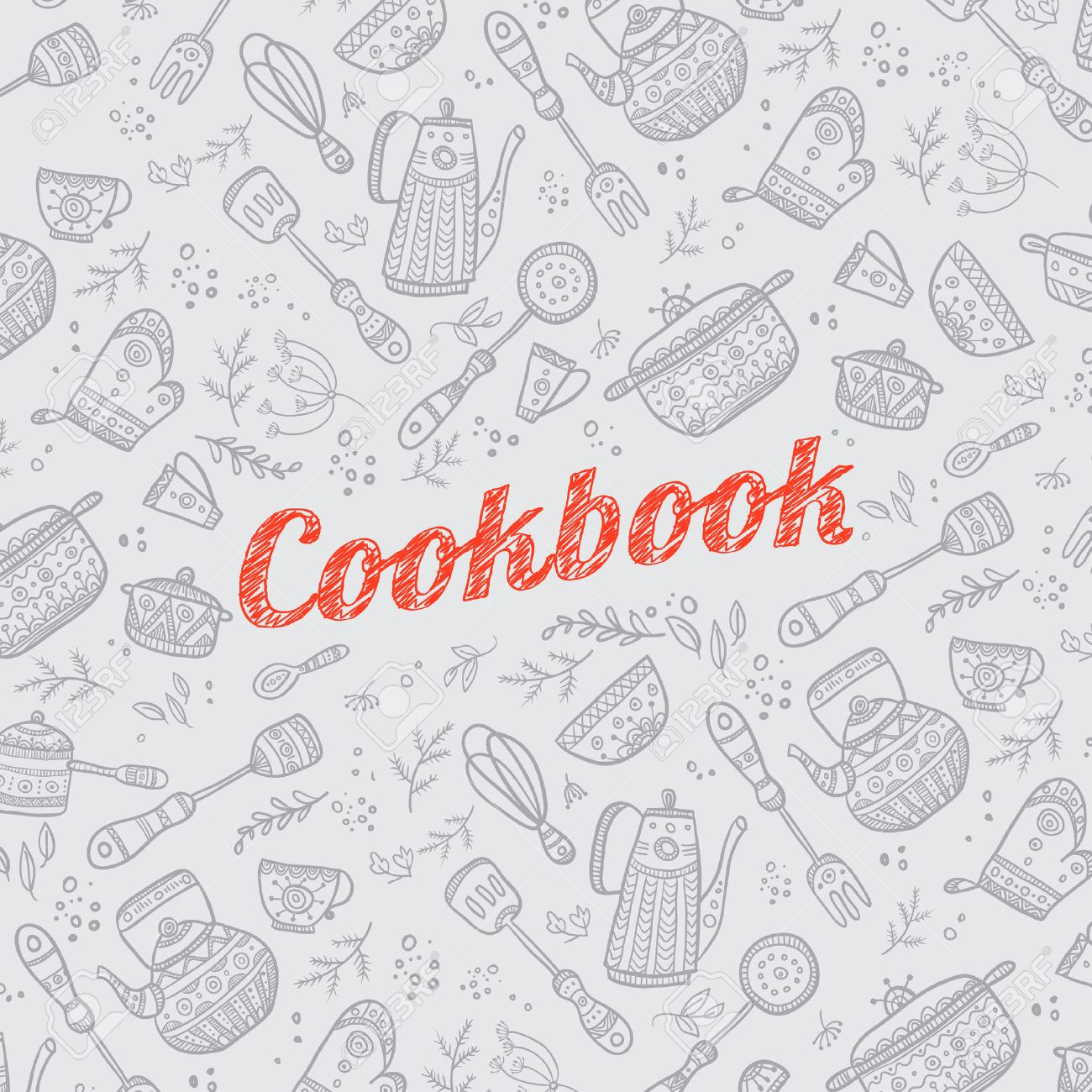 cookbook cover design with kitchen items pattern vector template